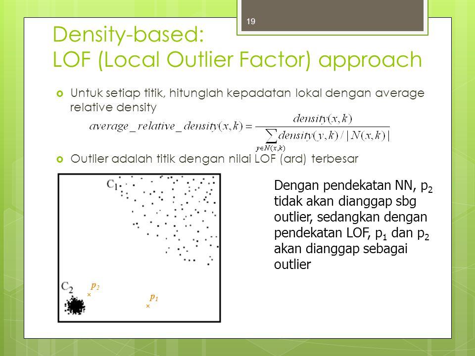 Density-based: LOF (Local Outlier Factor) approach  Untuk setiap titik, hitunglah kepadatan lokal dengan average relative density  Outlier adalah ti