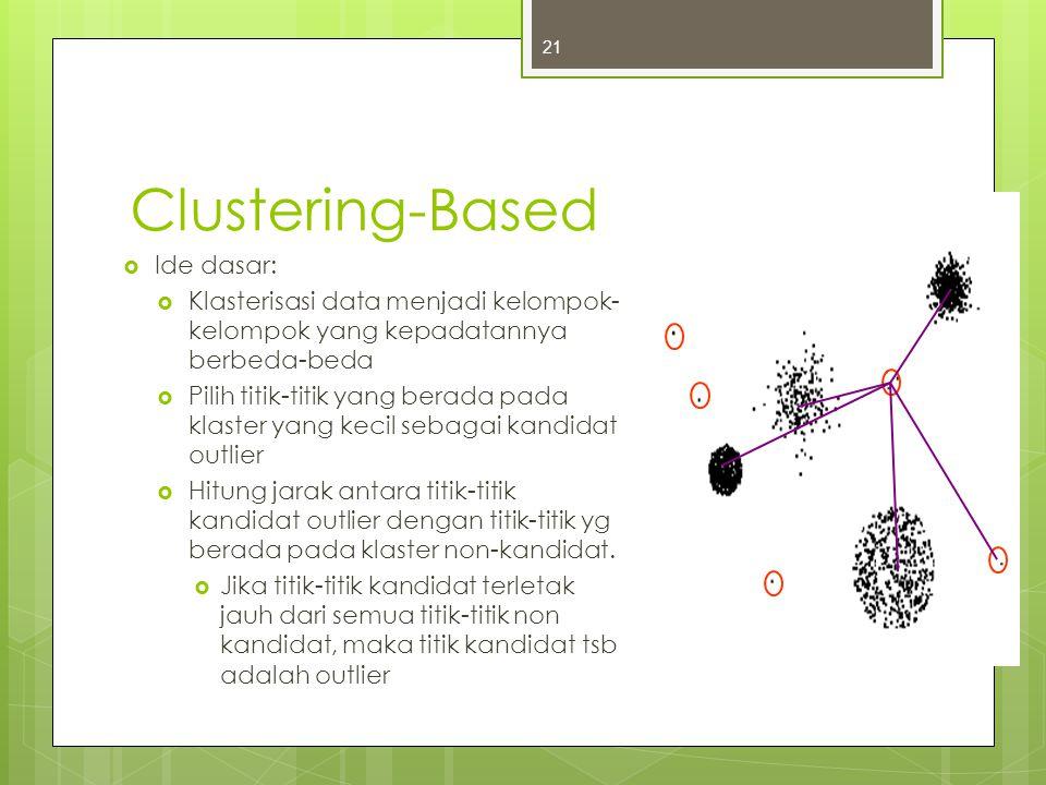 Clustering-Based  Ide dasar:  Klasterisasi data menjadi kelompok- kelompok yang kepadatannya berbeda-beda  Pilih titik-titik yang berada pada klast