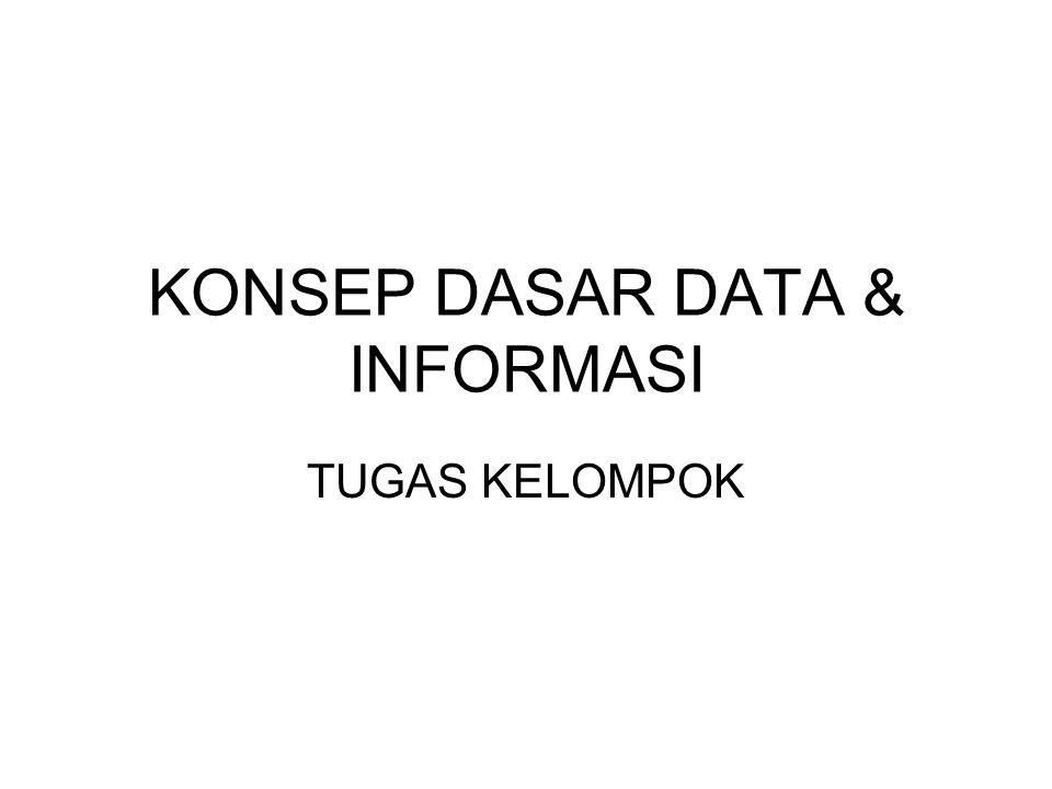 Konsep Dasar SI Konsep-konsep dasar yang berkaitan dengan Sistem Informasi: •Data •Informasi •Pengetahuan •Kebijaksanaan •Proses atau aktivitas dalam SI (pengolahan, komunikasi, interaksi dengan tempat penyimpanan data)