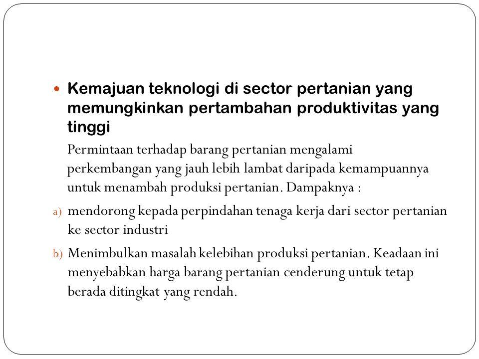  Kemajuan teknologi di sector pertanian yang memungkinkan pertambahan produktivitas yang tinggi Permintaan terhadap barang pertanian mengalami perkem