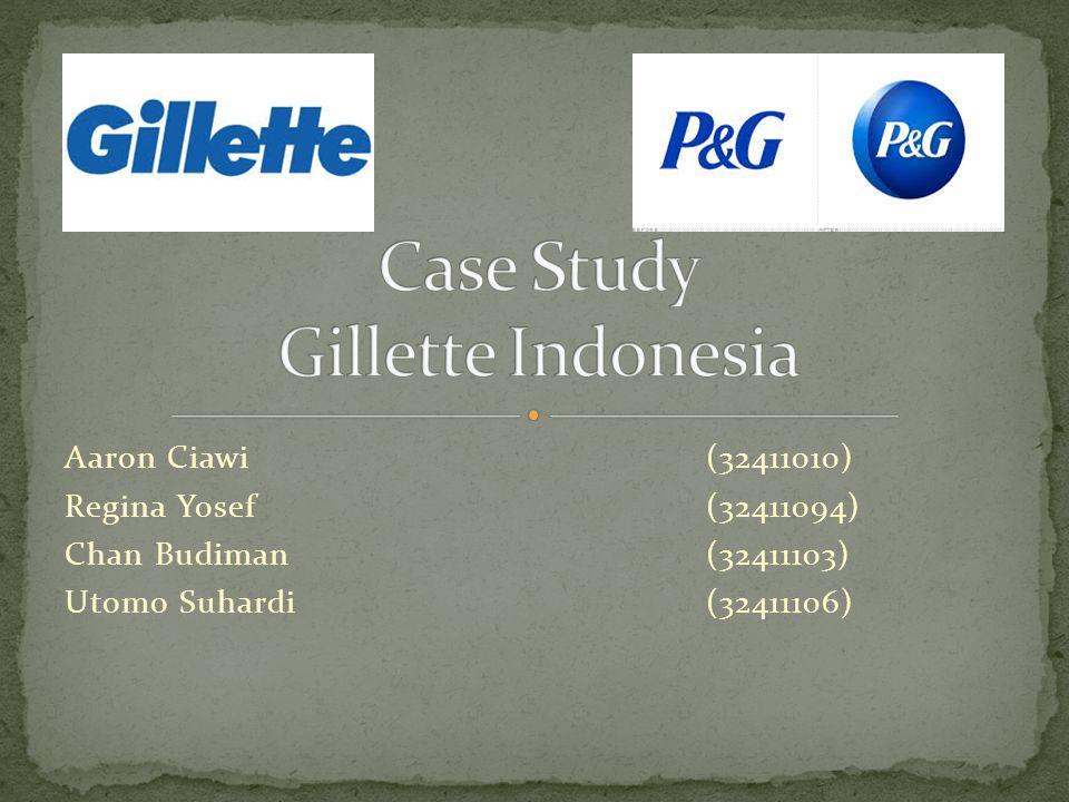  Founded in 1901  Merupakan anak perusahaan dari P&G  The Market Leader in blades and razors  Dari angka penjualan Gillette tahun 1995 yang sebesar $6,8 Milyar, 40% ($2,6 Milyar) didapat dari pisau cukur  Misi Gillette adalah untuk mencapai worldwide leadership dalam kategori produk utamanya  Produk utamanya adalah pisau cukur