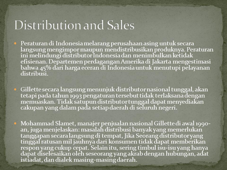  Peraturan di Indonesia melarang perusahaan asing untuk secara langsung mengimpor maupun mendistribusikan produknya. Peraturan ini melindungi distrib