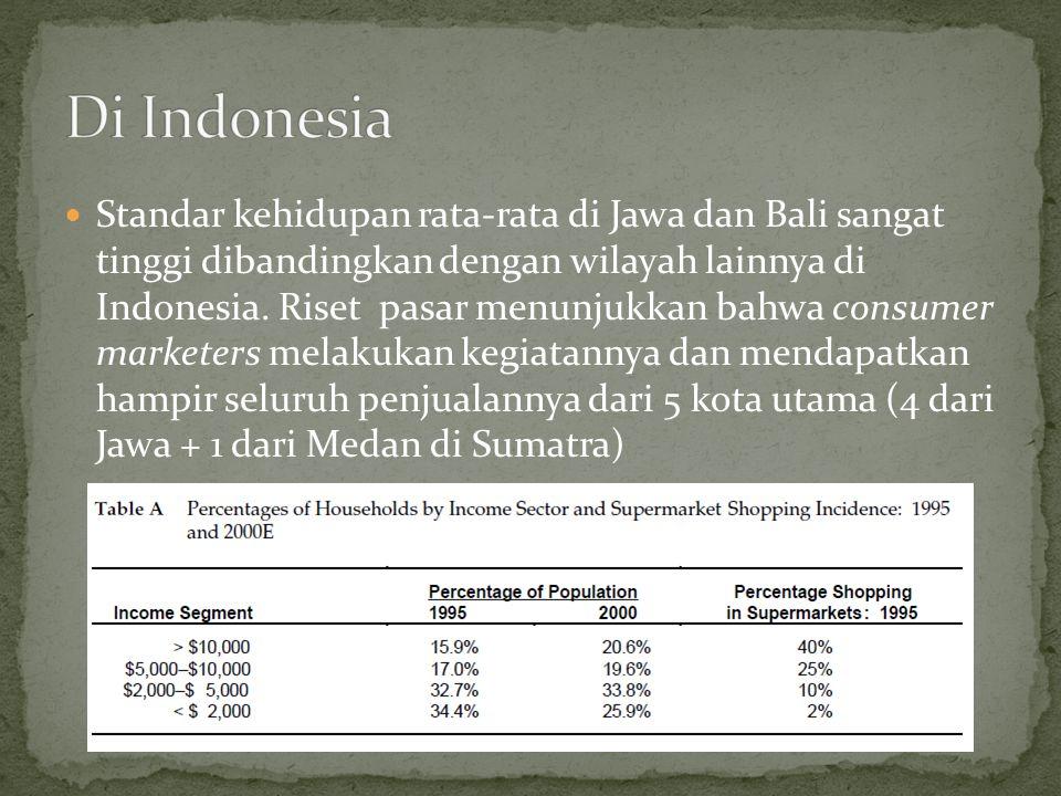  Standar kehidupan rata-rata di Jawa dan Bali sangat tinggi dibandingkan dengan wilayah lainnya di Indonesia. Riset pasar menunjukkan bahwa consumer