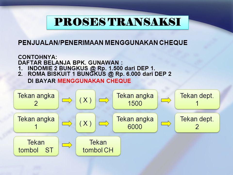 PENJUALAN/PENERIMAAN CREDIT / HUTANG CONTOHNYA: DAFTAR BELANJA BPK. GUNAWAN : 1. INDOMIE 2 BUNGKUS @ Rp. 1.500 dari DEP 1. 2. ROMA BISKUIT 1 BUNGKUS @