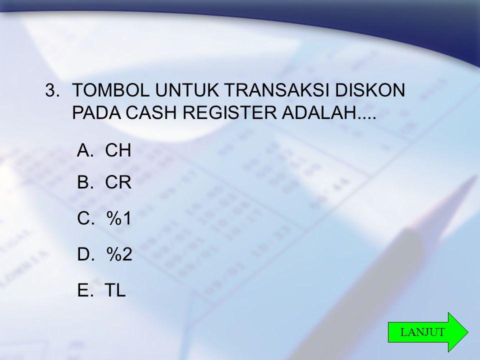 24 3.TOMBOL UNTUK TRANSAKSI DISKON PADA CASH REGISTER ADALAH....