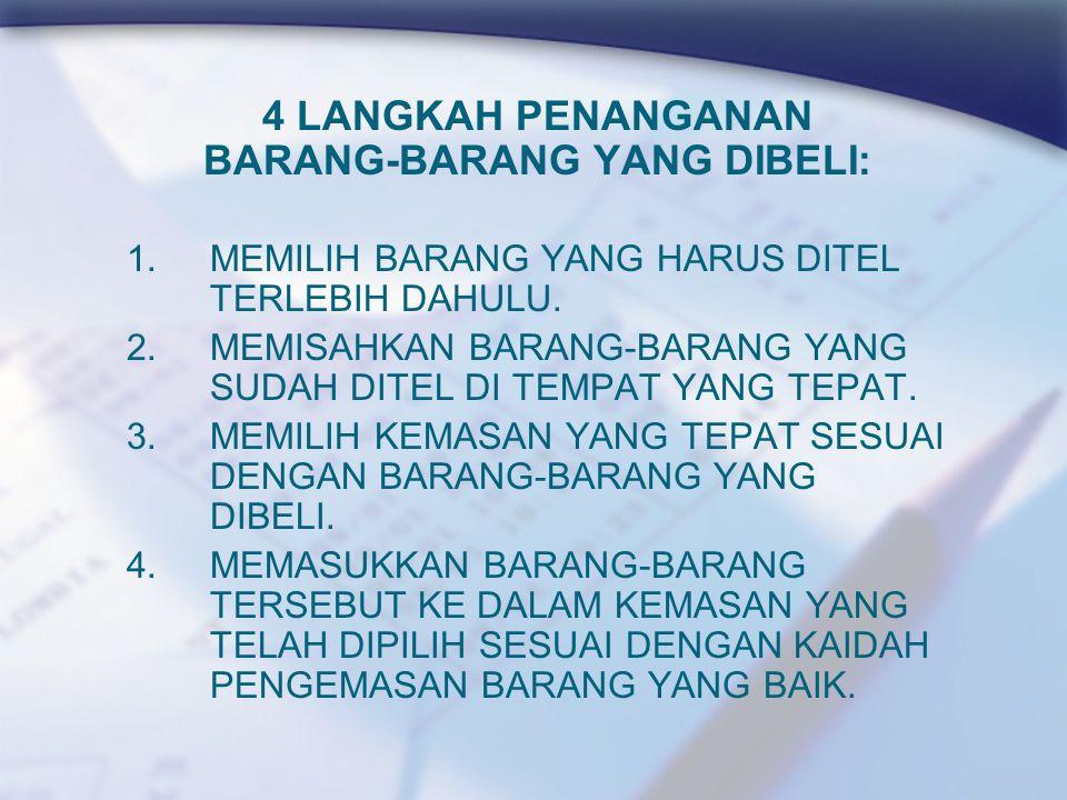 4 LANGKAH PENANGANAN BARANG-BARANG YANG DIBELI: 1.MEMILIH BARANG YANG HARUS DITEL TERLEBIH DAHULU.