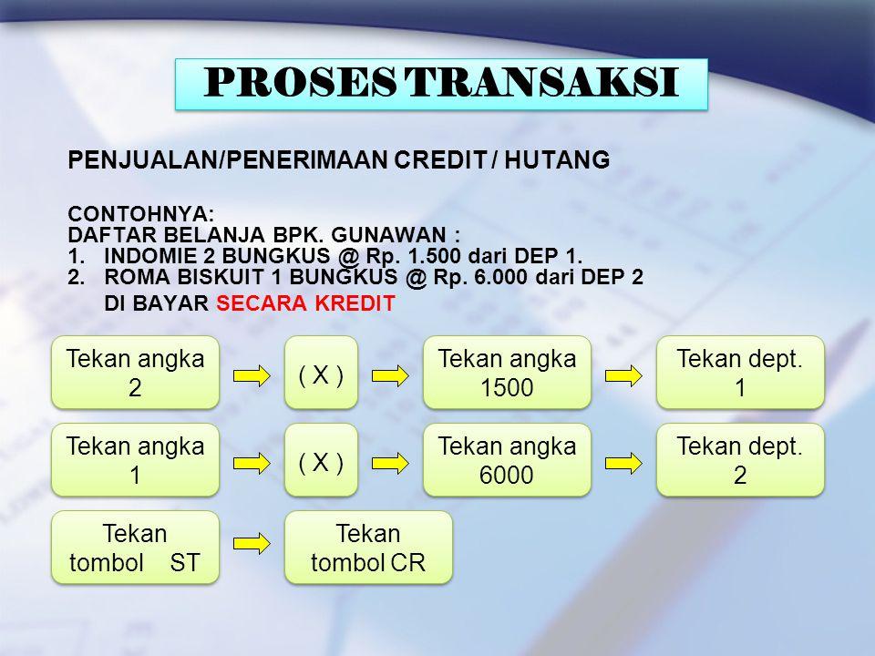 PENJUALAN/PENERIMAAN CASH CONTOHNYA: DAFTAR BELANJA BPK. GUNAWAN : 1. INDOMIE 2 BUNGKUS @ Rp. 1.500 dari DEP 1. 2. ROMA BISKUIT 1 BUNGKUS @ Rp. 6.000