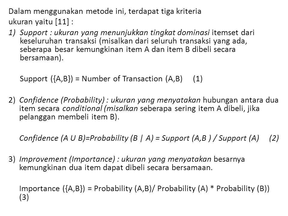 Dalam menggunakan metode ini, terdapat tiga kriteria ukuran yaitu [11] : 1)Support : ukuran yang menunjukkan tingkat dominasi itemset dari keseluruhan