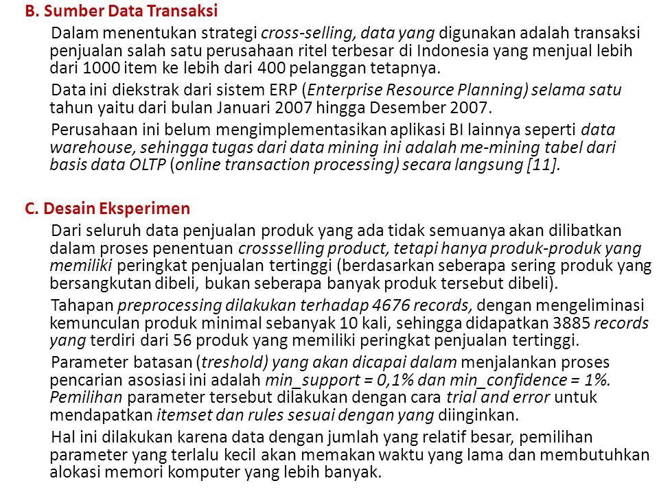 B. Sumber Data Transaksi Dalam menentukan strategi cross-selling, data yang digunakan adalah transaksi penjualan salah satu perusahaan ritel terbesar