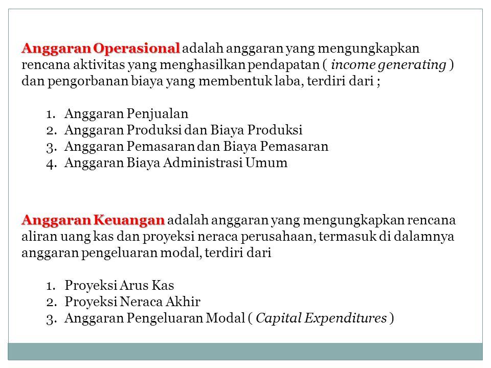 Anggaran Operasional Anggaran Operasional adalah anggaran yang mengungkapkan rencana aktivitas yang menghasilkan pendapatan ( income generating ) dan