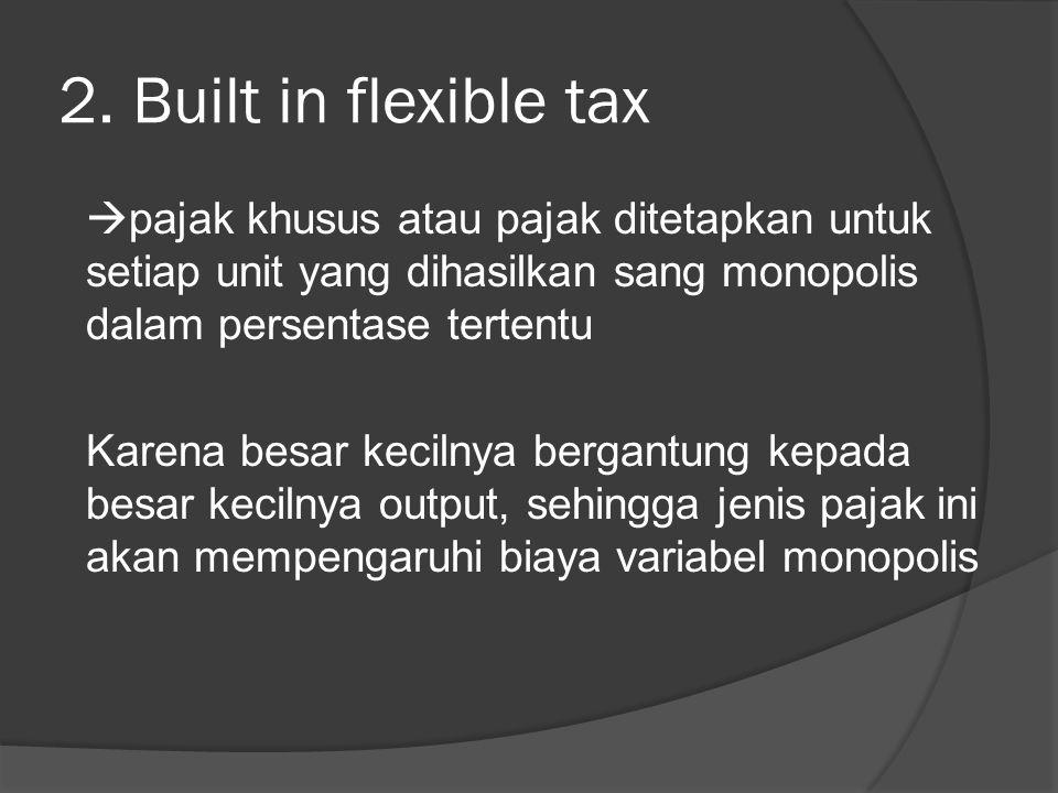 2. Built in flexible tax  pajak khusus atau pajak ditetapkan untuk setiap unit yang dihasilkan sang monopolis dalam persentase tertentu Karena besar