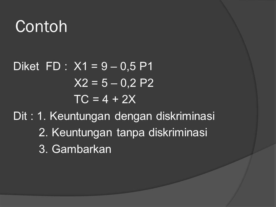 Contoh Diket FD : X1 = 9 – 0,5 P1 X2 = 5 – 0,2 P2 TC = 4 + 2X Dit : 1. Keuntungan dengan diskriminasi 2. Keuntungan tanpa diskriminasi 3. Gambarkan
