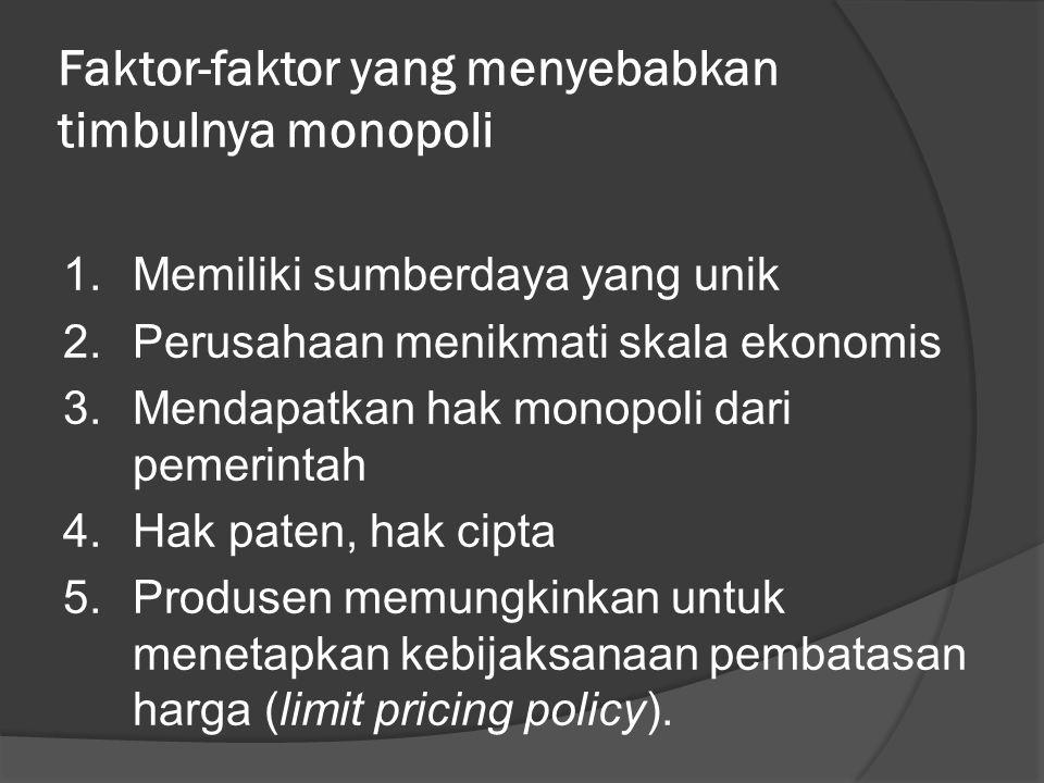 Faktor-faktor yang menyebabkan timbulnya monopoli 1.Memiliki sumberdaya yang unik 2.Perusahaan menikmati skala ekonomis 3.Mendapatkan hak monopoli dari pemerintah 4.Hak paten, hak cipta 5.Produsen memungkinkan untuk menetapkan kebijaksanaan pembatasan harga (limit pricing policy).