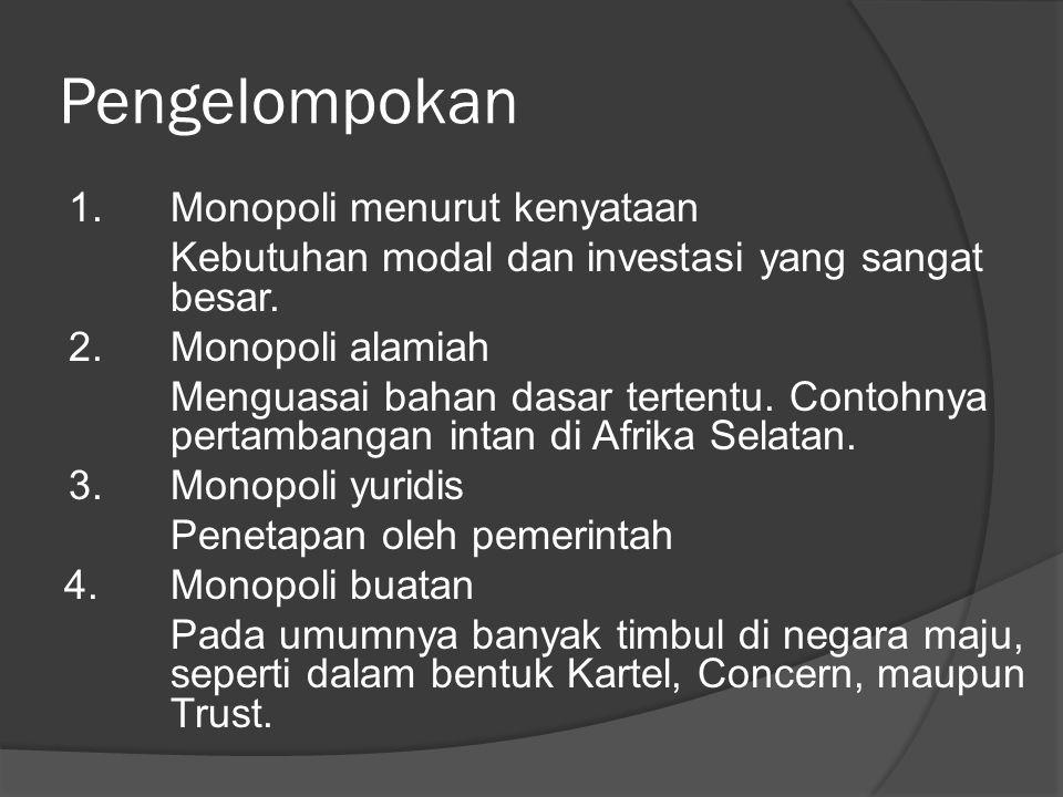 Pengelompokan 1. Monopoli menurut kenyataan Kebutuhan modal dan investasi yang sangat besar. 2.Monopoli alamiah Menguasai bahan dasar tertentu. Contoh