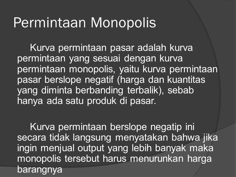 Permintaan Monopolis Kurva permintaan pasar adalah kurva permintaan yang sesuai dengan kurva permintaan monopolis, yaitu kurva permintaan pasar berslope negatif (harga dan kuantitas yang diminta berbanding terbalik), sebab hanya ada satu produk di pasar.