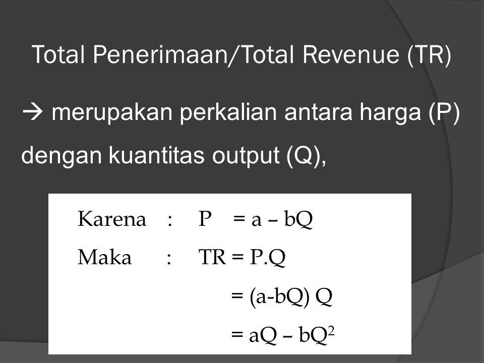 Total Penerimaan/Total Revenue (TR)  merupakan perkalian antara harga (P) dengan kuantitas output (Q), Karena :P = a – bQ Maka :TR = P.Q = (a-bQ) Q = aQ – bQ 2