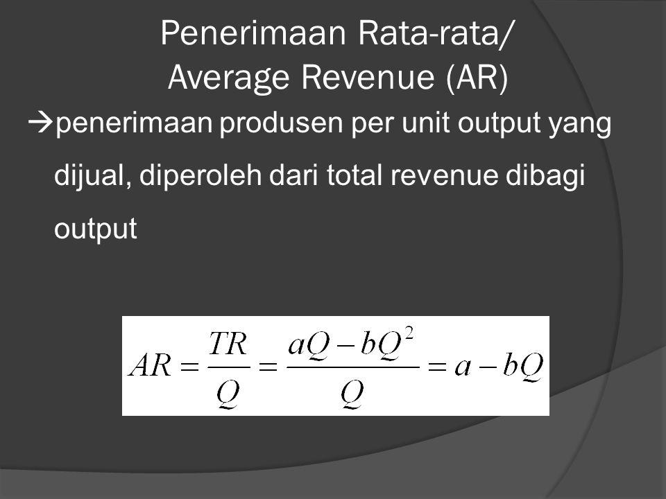 Penerimaan Rata-rata/ Average Revenue (AR)  penerimaan produsen per unit output yang dijual, diperoleh dari total revenue dibagi output