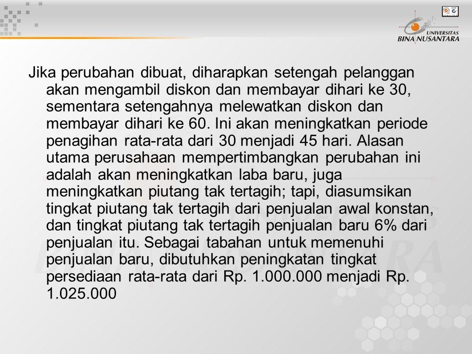 Contoh : PT. Elektron sekarang memiliki penjualan tahunan, semua kredit Rp. 8.000.000 dan periode penagihan rata-rata 30 hari. Tingkat piutang tak ter