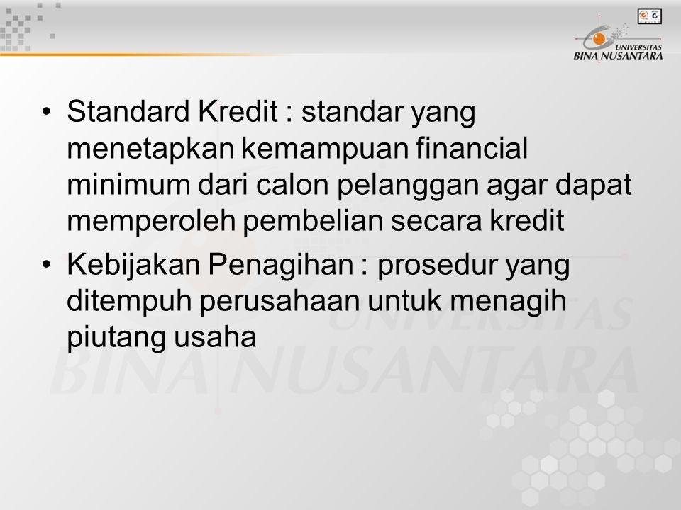 Kebijakan Penjualan Kredit tergantung : •Periode Kredit (credit term) : ketentuan mengenai periode kredit dan diskon yag diberikan –Periode Kredit : J
