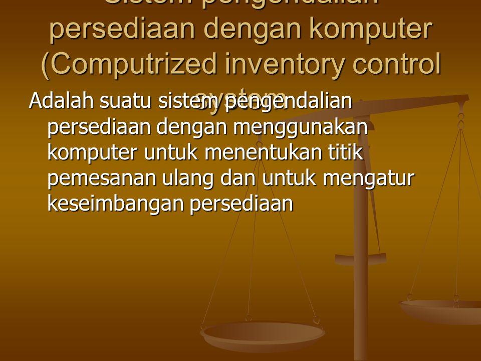 Metode dua peti (Two bin method) : Suatu prosedur pengendalian persediaan dimana titik pemesanan ulang dicapai manakala salah satu dari dua peti penym