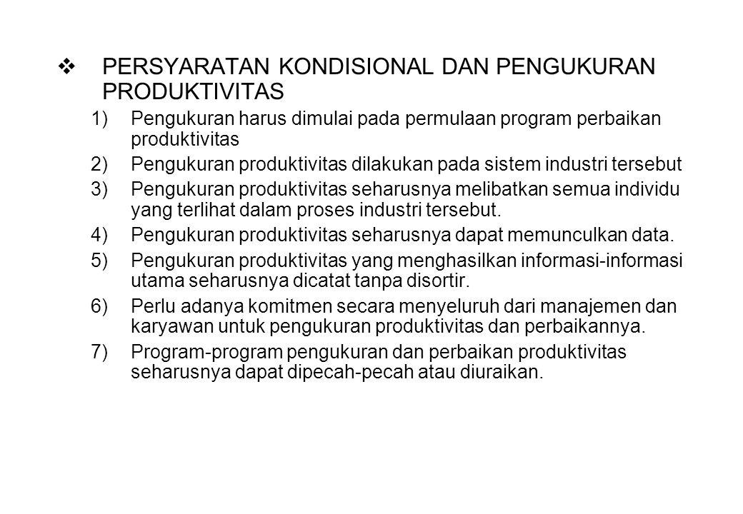  PERSYARATAN KONDISIONAL DAN PENGUKURAN PRODUKTIVITAS 1)Pengukuran harus dimulai pada permulaan program perbaikan produktivitas 2)Pengukuran produkti