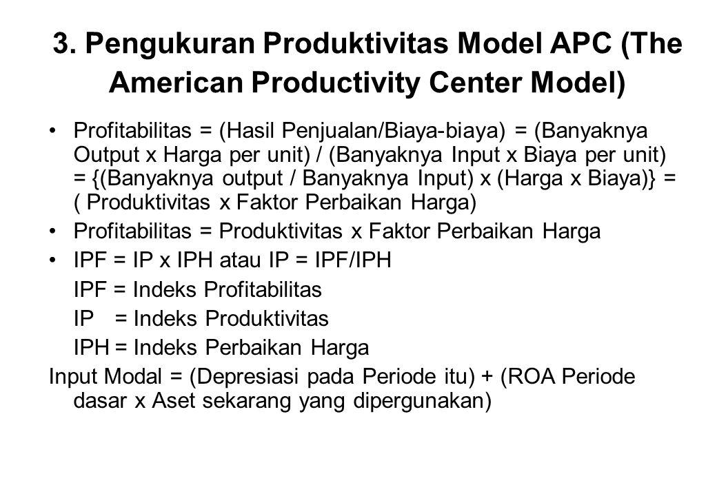 3. Pengukuran Produktivitas Model APC (The American Productivity Center Model) •Profitabilitas = (Hasil Penjualan/Biaya-biaya) = (Banyaknya Output x H