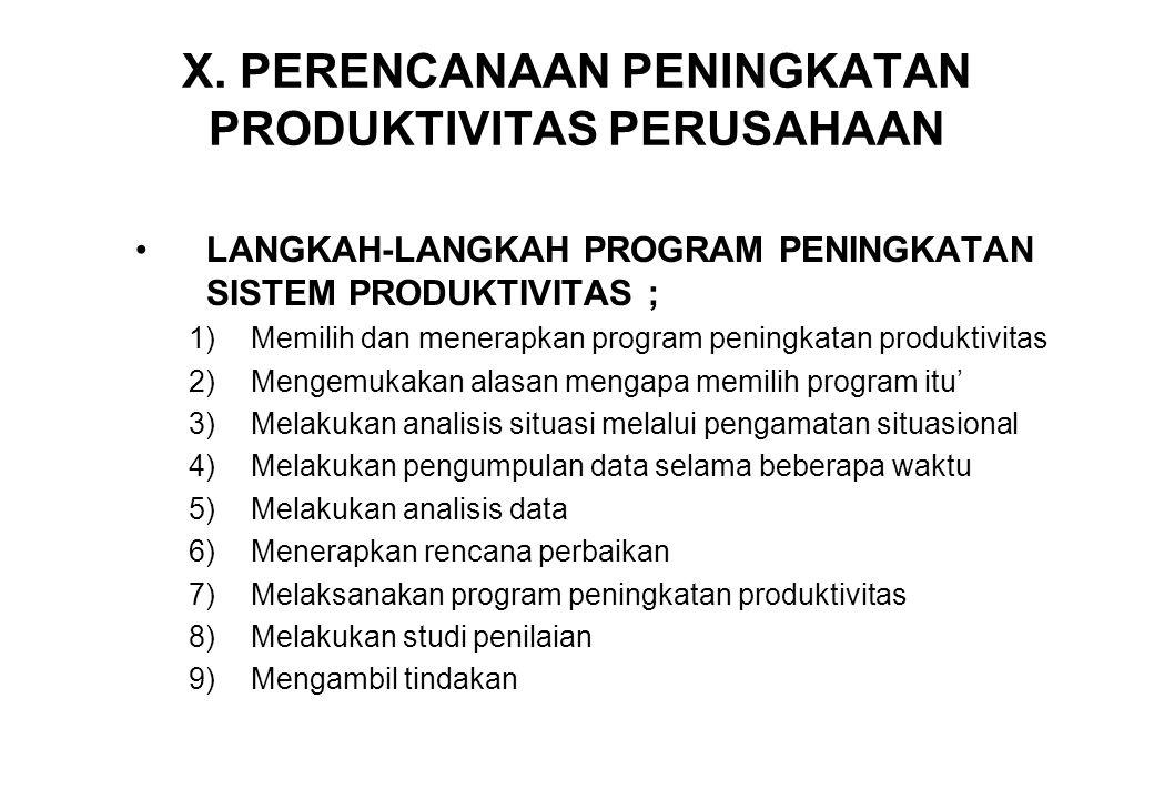 X. PERENCANAAN PENINGKATAN PRODUKTIVITAS PERUSAHAAN •LANGKAH-LANGKAH PROGRAM PENINGKATAN SISTEM PRODUKTIVITAS ; 1)Memilih dan menerapkan program penin