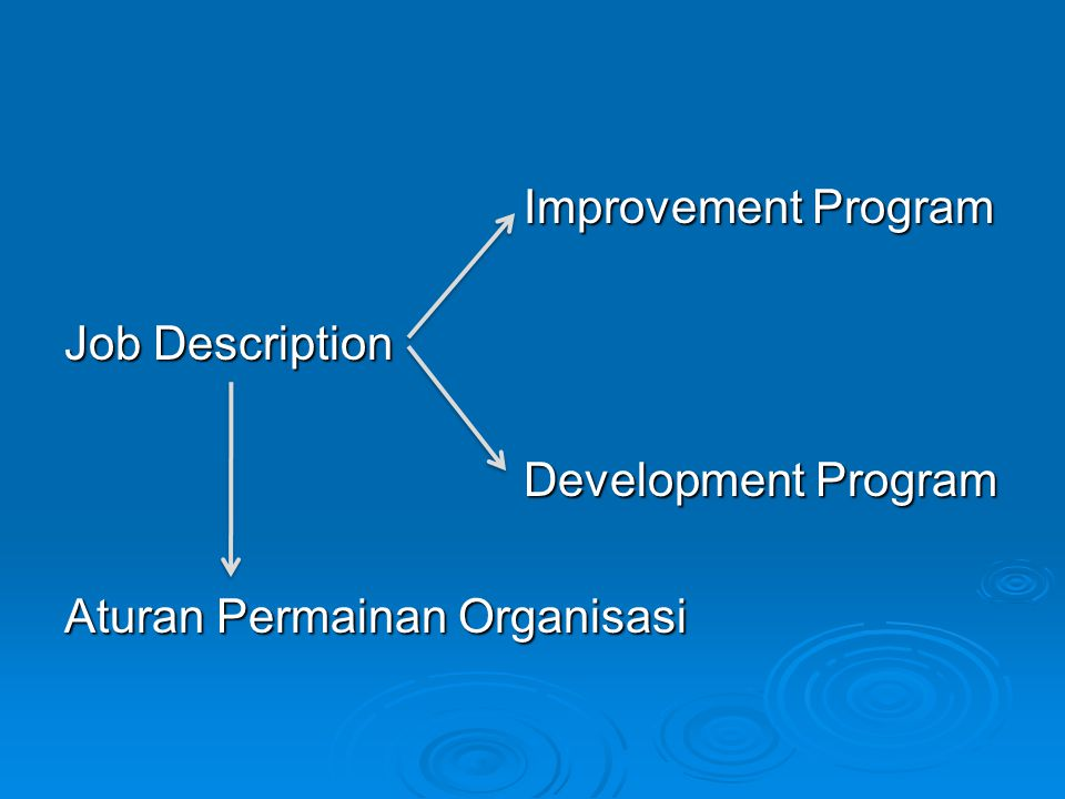 Improvement Program Improvement Program Job Description Development Program Development Program Aturan Permainan Organisasi