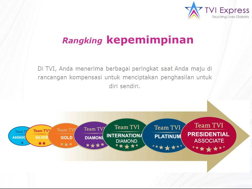 Rangking kepemimpinan Di TVI, Anda menerima berbagai peringkat saat Anda maju di rancangan kompensasi untuk menciptakan penghasilan untuk diri sendiri