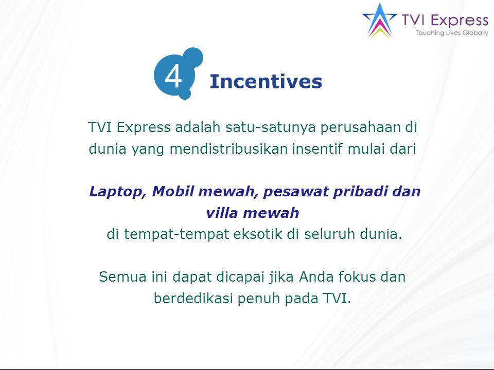 TVI Express adalah satu-satunya perusahaan di dunia yang mendistribusikan insentif mulai dari Laptop, Mobil mewah, pesawat pribadi dan villa mewah di