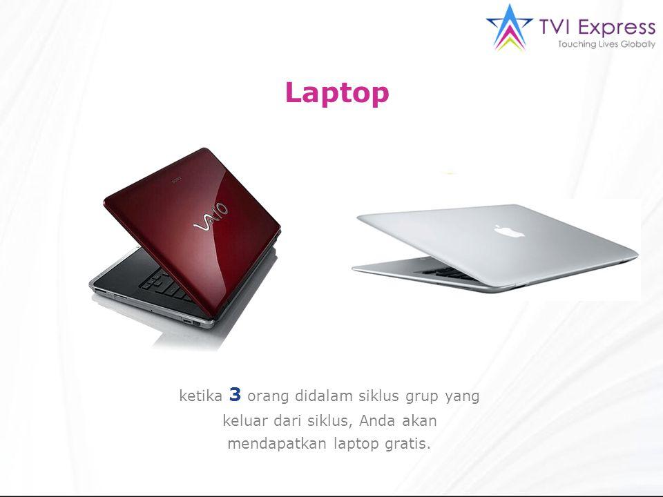 Laptop ketika 3 orang didalam siklus grup yang keluar dari siklus, Anda akan mendapatkan laptop gratis.