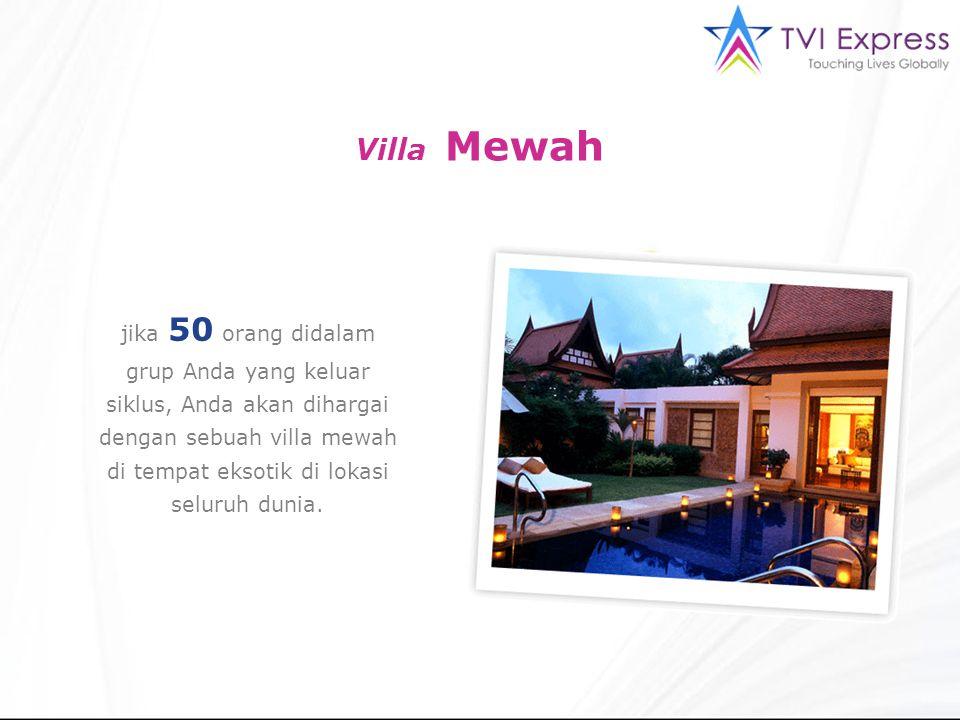 jika 50 orang didalam grup Anda yang keluar siklus, Anda akan dihargai dengan sebuah villa mewah di tempat eksotik di lokasi seluruh dunia. Villa Mewa