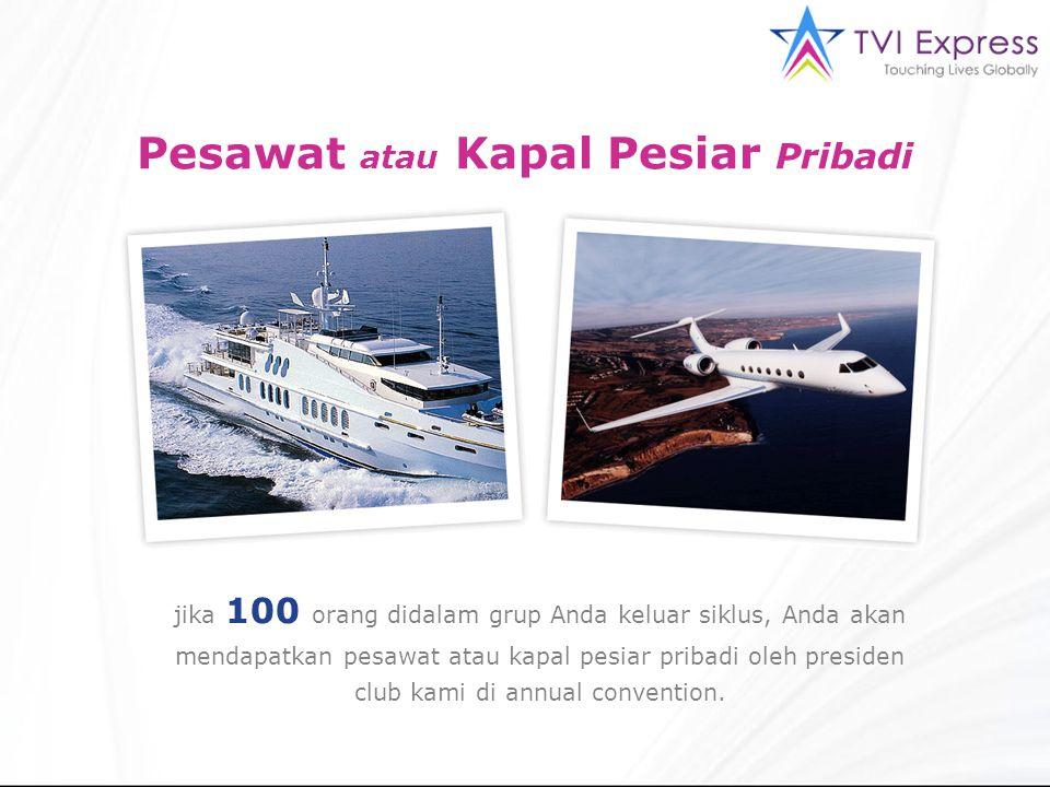 Pesawat atau Kapal Pesiar Pribadi jika 100 orang didalam grup Anda keluar siklus, Anda akan mendapatkan pesawat atau kapal pesiar pribadi oleh preside
