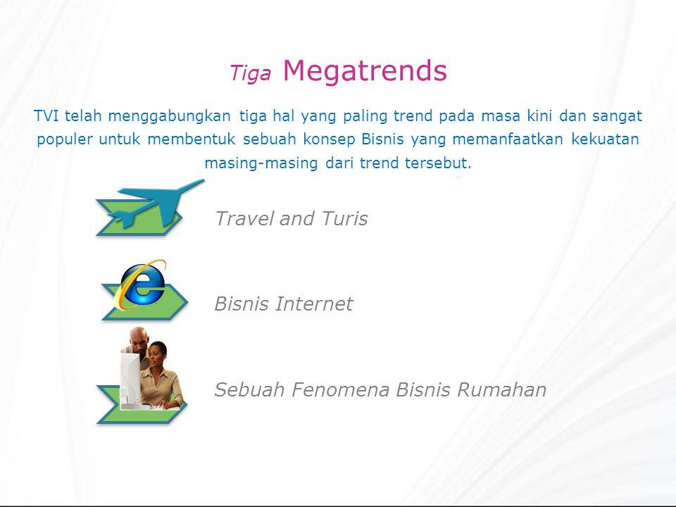 Tiga Megatrends TVI telah menggabungkan tiga hal yang paling trend pada masa kini dan sangat populer untuk membentuk sebuah konsep Bisnis yang memanfaatkan kekuatan masing-masing dari trend tersebut.