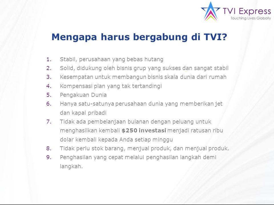 Mengapa harus bergabung di TVI? 1.Stabil, perusahaan yang bebas hutang 2.Solid, didukung oleh bisnis grup yang sukses dan sangat stabil 3.Kesempatan u