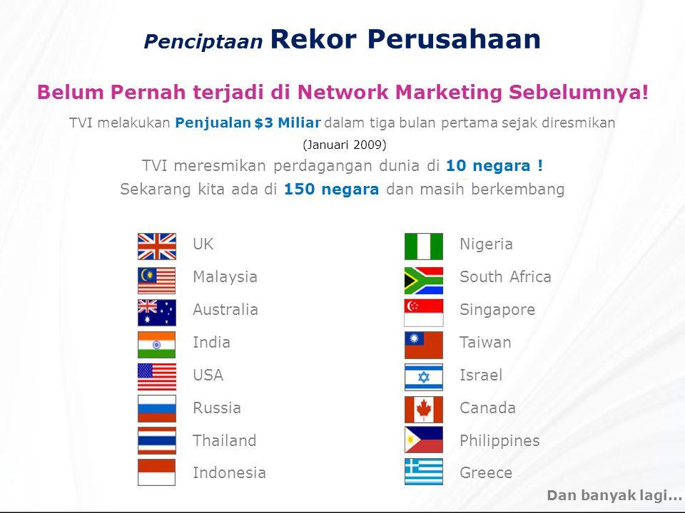 Penciptaan Rekor Perusahaan Belum Pernah terjadi di Network Marketing Sebelumnya! TVI melakukan Penjualan $3 Miliar dalam tiga bulan pertama sejak dir