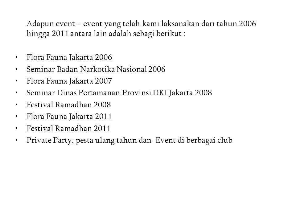 Adapun event – event yang telah kami laksanakan dari tahun 2006 hingga 2011 antara lain adalah sebagi berikut : •Flora Fauna Jakarta 2006 •Seminar Bad