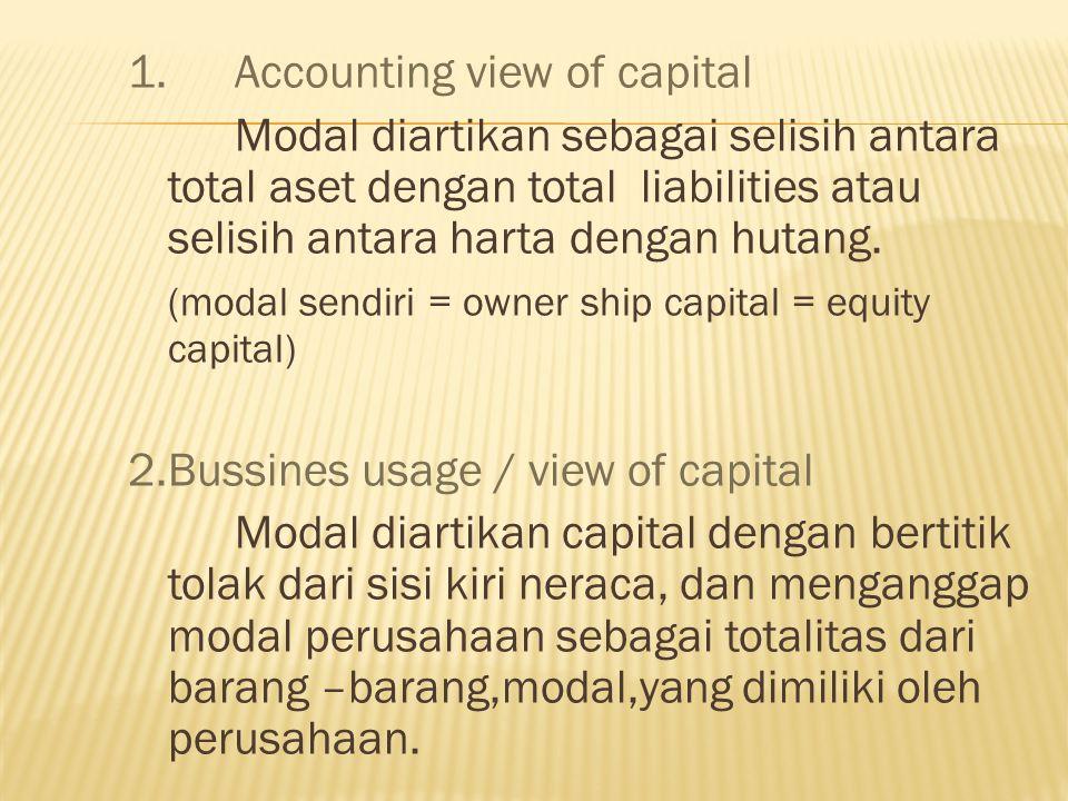 1. Accounting view of capital Modal diartikan sebagai selisih antara total aset dengan total liabilities atau selisih antara harta dengan hutang. (mod