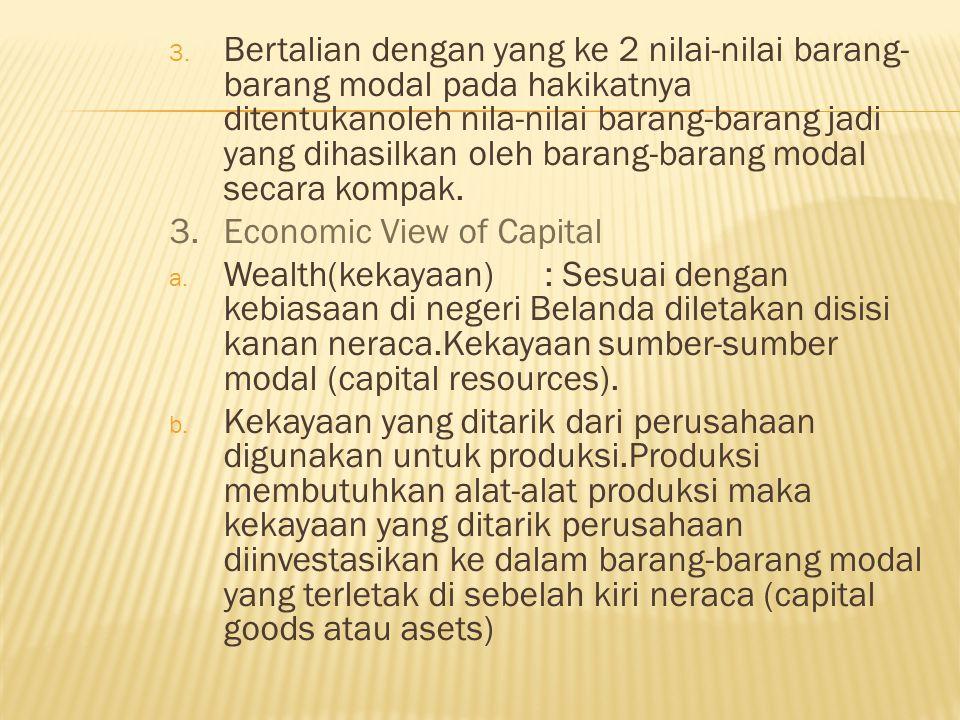 3. Bertalian dengan yang ke 2 nilai-nilai barang- barang modal pada hakikatnya ditentukanoleh nila-nilai barang-barang jadi yang dihasilkan oleh baran