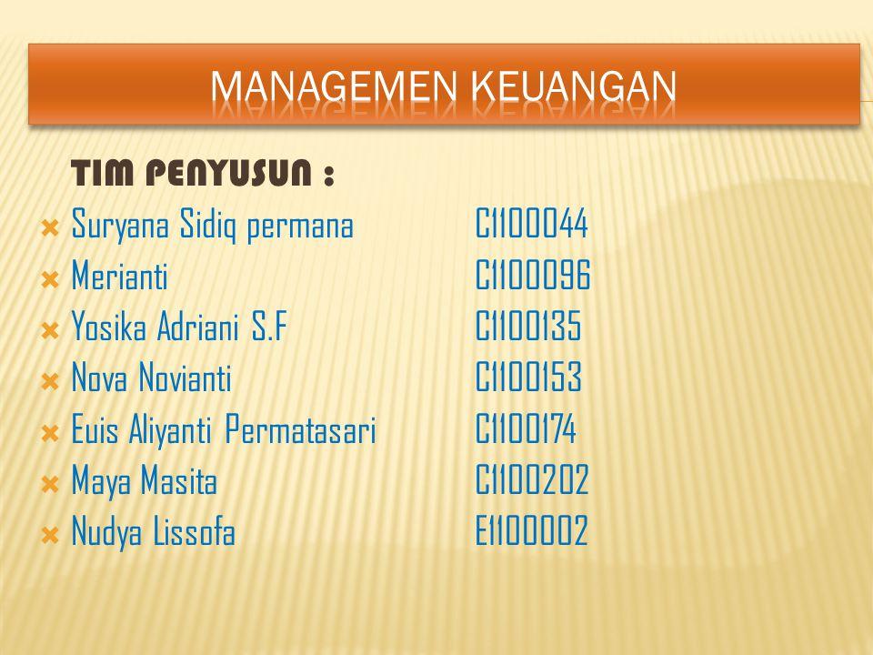 Rencana keuangan/pembelanja an Penggunaan dana yang terbaik Sumber dana yang terbaik Manager Keuangan
