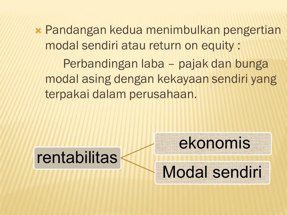  Pandangan kedua menimbulkan pengertian modal sendiri atau return on equity : Perbandingan laba – pajak dan bunga modal asing dengan kekayaan sendiri