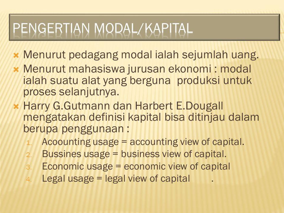  Menurut pedagang modal ialah sejumlah uang.  Menurut mahasiswa jurusan ekonomi : modal ialah suatu alat yang berguna produksi untuk proses selanjut