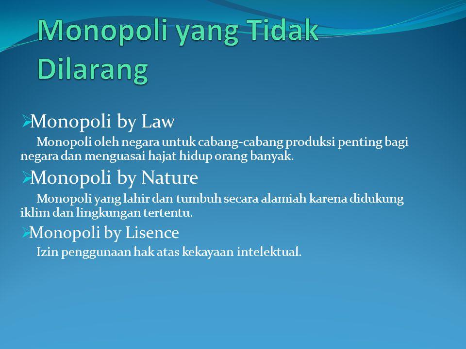  Monopoli by Law Monopoli oleh negara untuk cabang-cabang produksi penting bagi negara dan menguasai hajat hidup orang banyak.  Monopoli by Nature M