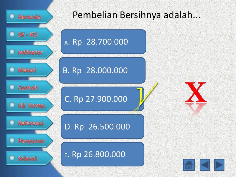 Pembelian Bersihnya adalah...A. Rp 28.700.000 C. Rp 27.900.000 D.