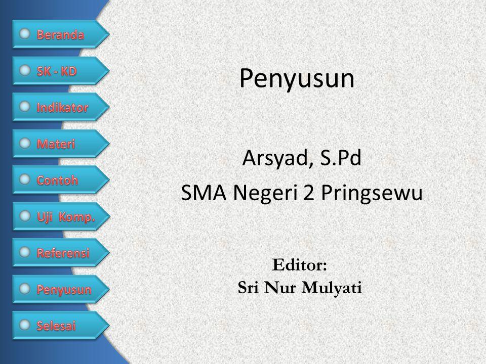 Penyusun Arsyad, S.Pd SMA Negeri 2 Pringsewu Editor: Sri Nur Mulyati