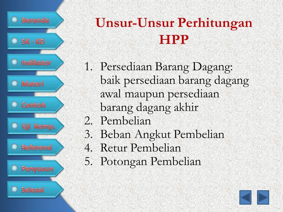 Unsur-Unsur Perhitungan HPP 1.Persediaan Barang Dagang: baik persediaan barang dagang awal maupun persediaan barang dagang akhir 2.Pembelian 3.Beban Angkut Pembelian 4.Retur Pembelian 5.Potongan Pembelian