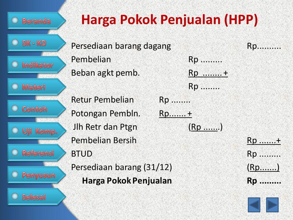 Harga Pokok Penjualan (HPP) Persediaan barang dagang Rp.......... PembelianRp......... Beban agkt pemb.Rp........ + Rp........ Retur PembelianRp......