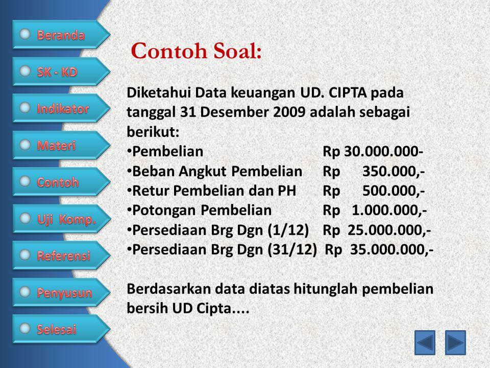 Contoh Soal: Diketahui Data keuangan UD. CIPTA pada tanggal 31 Desember 2009 adalah sebagai berikut: • PembelianRp 30.000.000- • Beban Angkut Pembelia