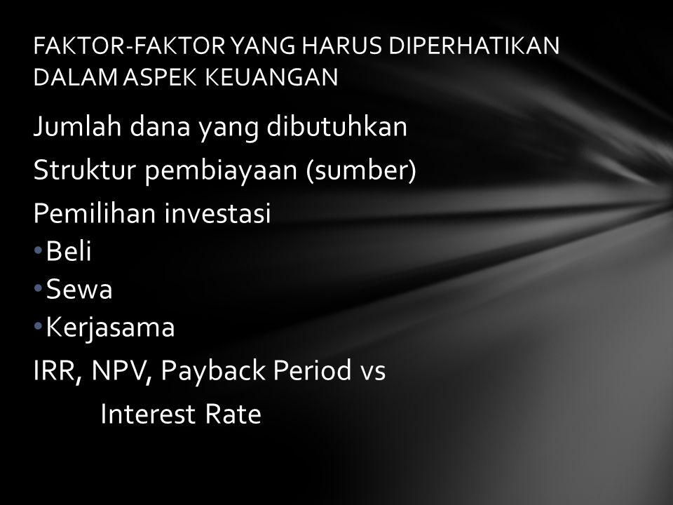 Jumlah dana yang dibutuhkan Struktur pembiayaan (sumber) Pemilihan investasi • Beli • Sewa • Kerjasama IRR, NPV, Payback Period vs Interest Rate FAKTO