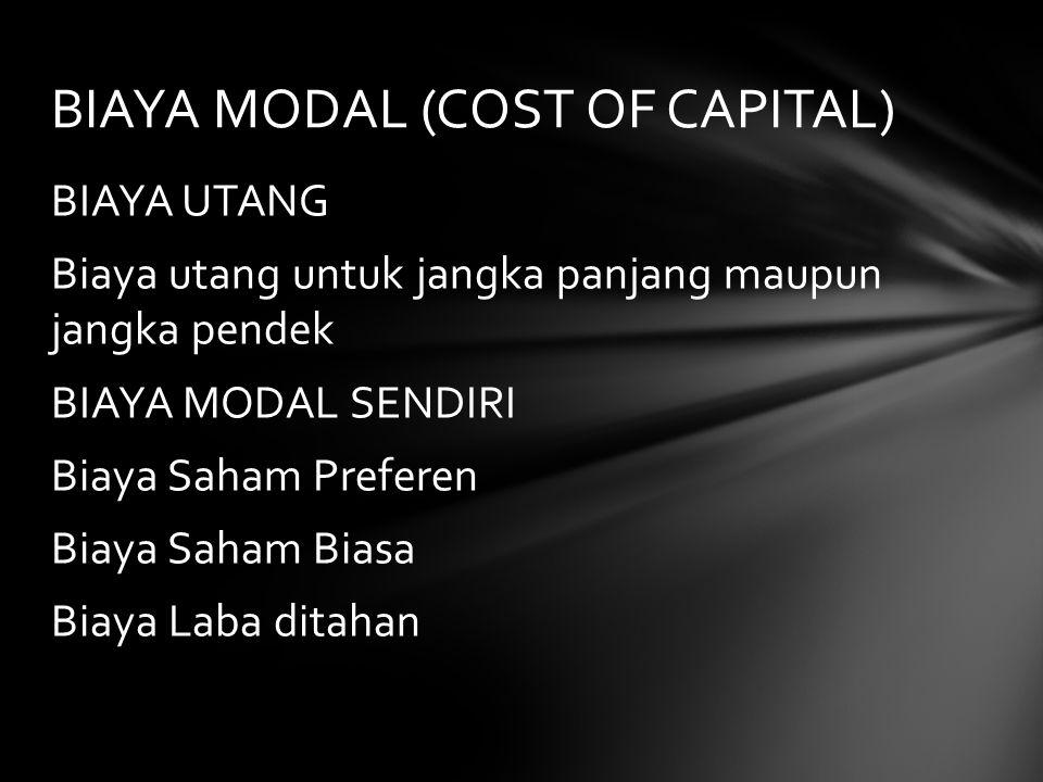 BIAYA UTANG Biaya utang untuk jangka panjang maupun jangka pendek BIAYA MODAL SENDIRI Biaya Saham Preferen Biaya Saham Biasa Biaya Laba ditahan BIAYA